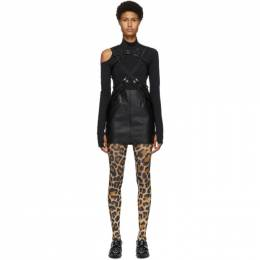 Junya Watanabe Black Faux-Leather Suspender Skirt JF-0006-051