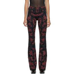 Misbhv Black and Red Monogram Flared Trousers 120W052