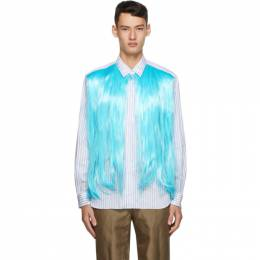 Comme Des Garcons Homme Plus White and Blue Hair Shirt PF-B028-051