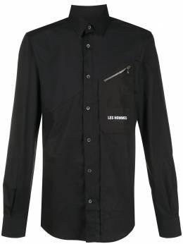 Les Hommes рубашка с вышитым логотипом и карманом на молнии LJS406403I