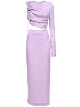 Leo Satin Jacquard Midi Dress W/ Cut Out Materiel 71IXA6005-TEFWTkRS0