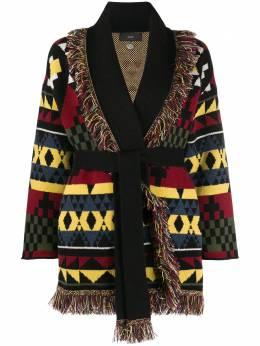 Alanui кардиган-пальто с геометричным узором и бахромой LWHB009E20KNI0191085