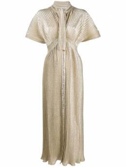 Paco Rabanne плиссированное платье с эффектом металлик 20AJR0227VI0261