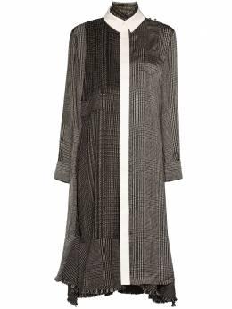 Sacai клетчатое платье миди со вставками 2005333