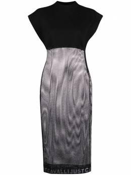 Just Cavalli сетчатое платье миди с высоким воротником S02CT1058N39517
