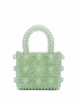 Shrimps mini Antonia geometric-beaded bag MANBBASMOKEGREEN
