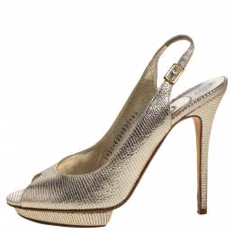 Gina Metallic Gold Lizard Embossed Leather Platform Peep Toe Slingback Sandals Size 39.5 323271