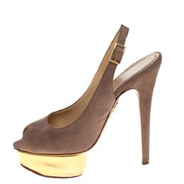 Charlotte Olympia Beige Suede Slingback Peep Toe Platform Sandals Size 37.5 325102
