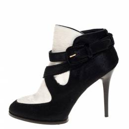 Tod's Black/White Calf Hair Cross Strap Buckle Detail Ankle Boots Size 40 325067