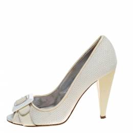 D&G White/Cream Woven Fabric And Patent Leather Buckle Peep Toe Pumps Size 38 Dandg 323855