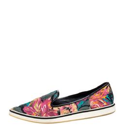 Nicholas Kirkwood Multicolor Floral Print Satin Alona Pointed Toe Slip On Sneakers Size 39 324845