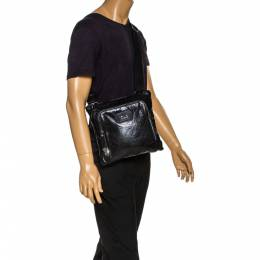 D & G Black Leather Alan Messenger Bag Dandg 321974
