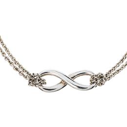 Tiffany & Co. Infinity Silver Double Strand Chain Link Bracelet 324195
