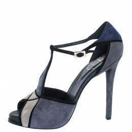 Roger Vivier Tri Color Suede T-Bar Ankle Strap Peep Toe Platform Pumps Size 39 324193