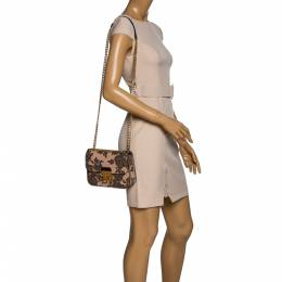 Michael Kors Black/Peach Printed Leather Flap Shoulder Bag 324190