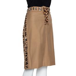 Yves Saint Laurent Tan Cotton Leopard Print Trim Pencil Skirt L 323150