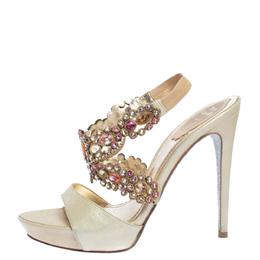 Rene Caovilla Beige Leather Crystal Embellished Platform Ankle Strap Sandals Size 37 324714