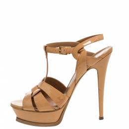 Yves Saint Laurent Beige Patent Leather Tribute Platform Sandals Size 38.5 324864