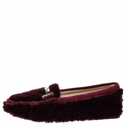 Tod's Burgundy Shearling And Suede Leather Double T Slip On Loafers Size 38.5 322734