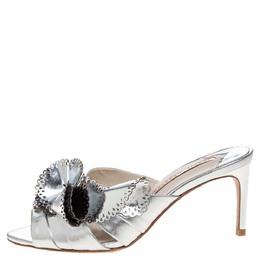 Sophia Webster Metallic Silver Laser Cut Leather Soleil Mules Size 36 323280