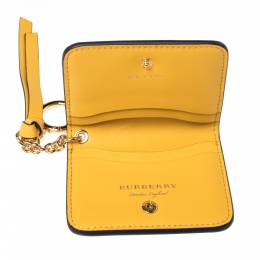 Burberry Mustard Leather Motif Card Case Bag Charm 324721