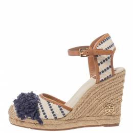 Tory Burch White/Blue Canvas And Leather Espadrille Wedge Platform Ankle Strap Sandals Size 36.5 324964