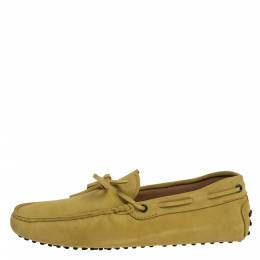 Tod's Yellow Suede Leather Bow Slip On Loafers Size 42 324755