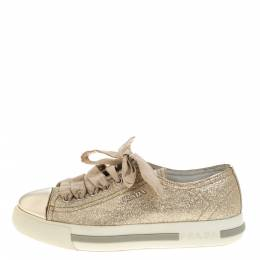 Prada Sport Gold Glitter And Leather Cap Toe Low Top Sneakers Size 36 324207