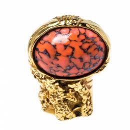 Yves Saint Laurent Arty Glass Cabochon Gold Tone Cocktail Ring Size 6 323062
