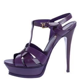 Yves Saint Laurent Purple Leather Tribute Platform Sandals Size 39 325086