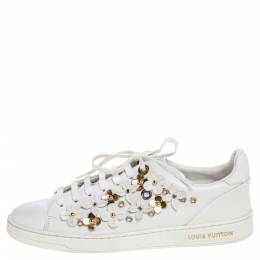 Louis Vuitton White Leather Frontrow Blossom Floral Embellished Low Top Sneakers Size 38 324377