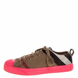 Burberry Pink/Beige Check Canvas And Rubber Low Top Sneakers Size 39 324778