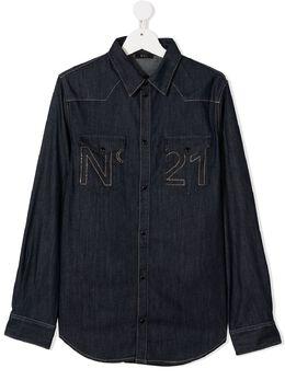 No.21 Kids рубашка с вышитым логотипом N214D4N088