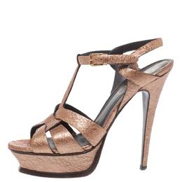 Yves Saint Laurent Metallic Rose Gold Textured Leather Tribute Platform Sandals Size 39 325113