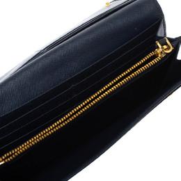 Prada Navy Blue Saffiano Leather Flap Continental Wallet 325486