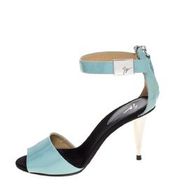 Giuseppe Zanotti Design Light Blue Patent Leather Ankle Strap Sandals Size 35 325021