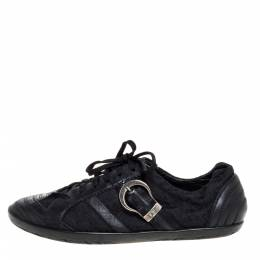 Dior Black Leather And Canvas Buckle Detail Low Top Sneakers Size 40.5 325172