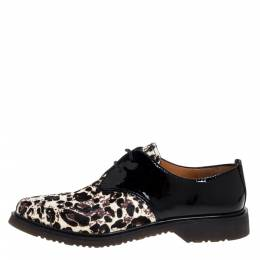 Marc Jacobs Black Patent Leather And Pony Hair Lace Up Derby Size 40 324741