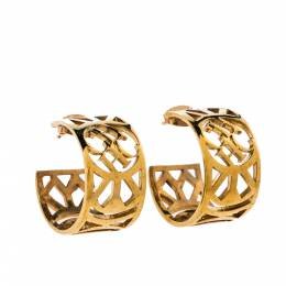 Ch Carolina Herrera Gold Tone Filigree Hoop Earrings 325151