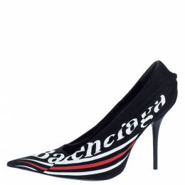 Balenciaga Black Logo Printed Draped Jersey And Leather Knife Pointed Toe Pumps Size 41 324794