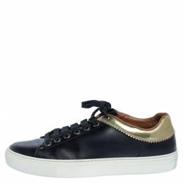 Givenchy Black Leather Low Top Sneakers Size 37 325228