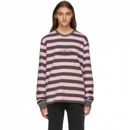Noon Goons Grey and Pink Stripe Jalama Long Sleeve T-Shirt NGFW20-051