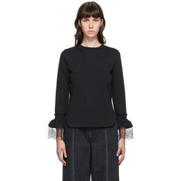 See By Chloe Black Frill Long Sleeve T-Shirt CHS20AJH47081