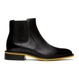 Fendi Black Leather Chelsea Boots 7U1383 AC7J
