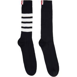 Thom Browne Navy Chunky Rib 4-Bar Mid-Calf Socks MAS064B-03191