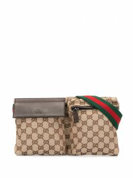 Gucci Pre-Owned поясная сумка с узором GG WB1592GUCCIMONOGRAMBUMBAGGREENANDREDBELTSILVERHARDWARE