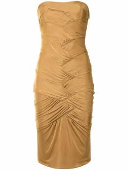 Gucci Pre-Owned платье без бретелей с драпировкой UP51200401311