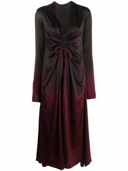 Masnada платье миди с вырезами и эффектом омбре 6980