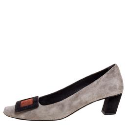 Roger Vivier Grey Suede Leather Belle Pumps Size 36 325593