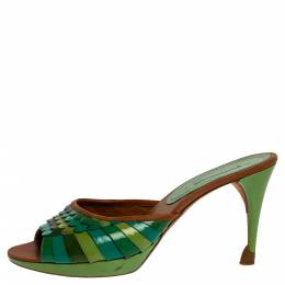 Celine Green Patent And Leather Trim Scalloped Open Toe Sandals Size 40 325721